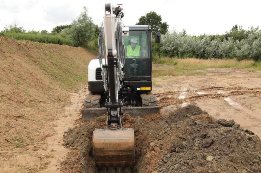 bobcat excavator e62 grading bucket construction