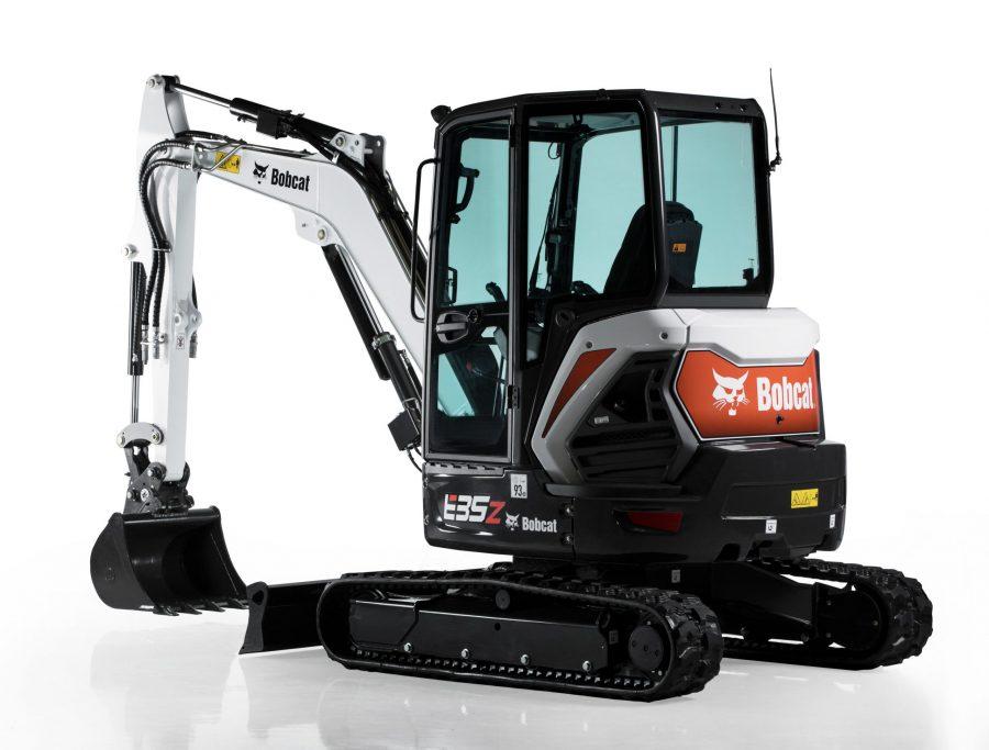 bobcat excavator e35z grading bucket construction