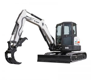 bobcat excavator e45 grading bucket construction
