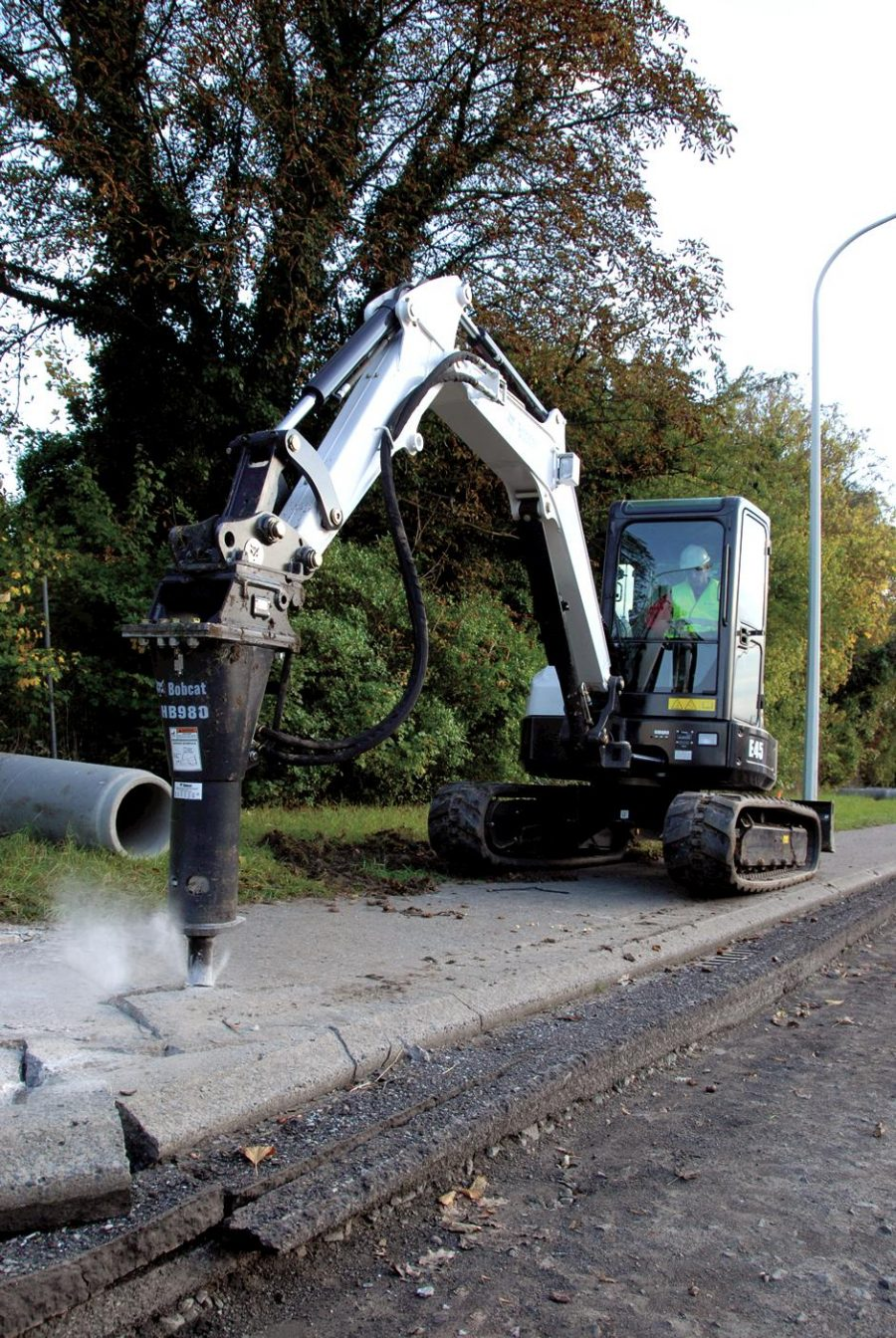 bobcat excavator e45 grading bucket construction