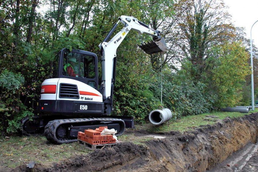 bobcat excavator e50 grading bucket construction