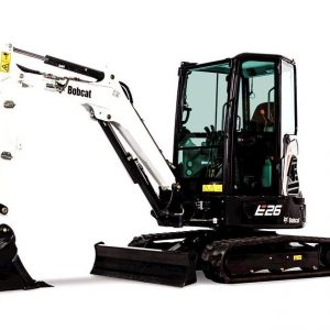 bobcat excavator e26 grading bucket construction