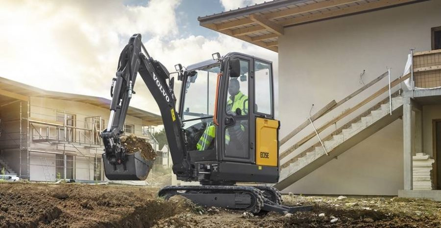 volvo excavator ec15e grading bucket construction