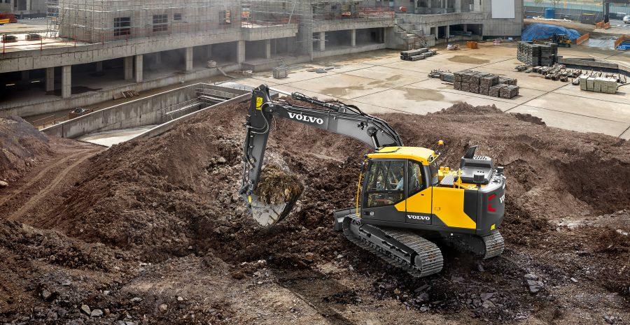 volvo excavator ec140e grading bucket construction